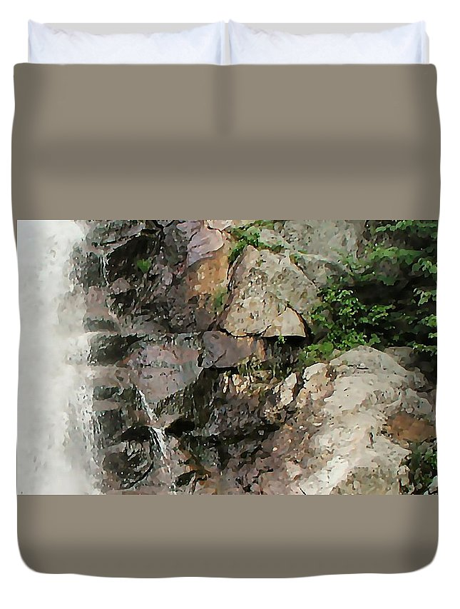 Waterfall Duvet Cover featuring the photograph Glen Falls Abstract by Dave Martsolf