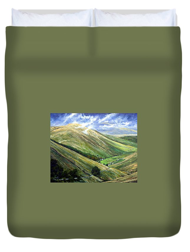 Landscapes Duvet Cover featuring the painting Glen Gesh Ireland by Jim Gola
