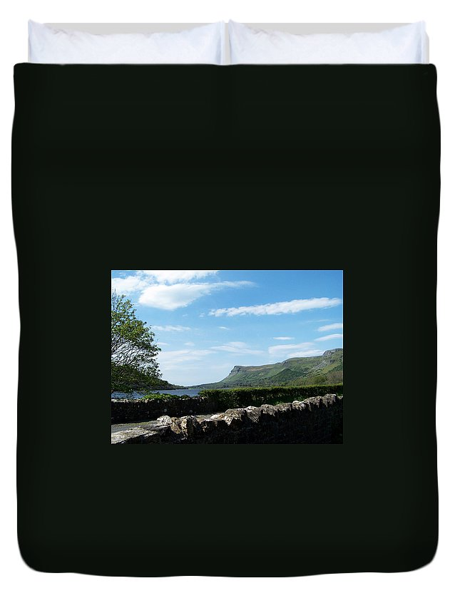 Irish Duvet Cover featuring the photograph Glencar Lake With View Of Benbulben Ireland by Teresa Mucha