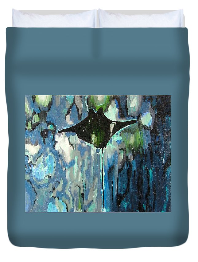 Stingray Duvet Cover featuring the painting Gliding Stingray by Heather Lennox