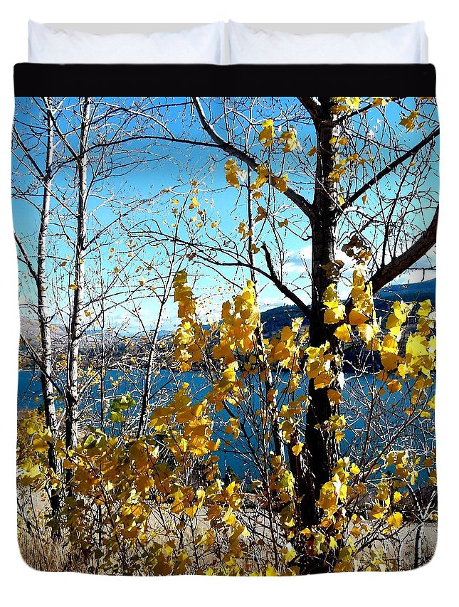 Kalamalka Lake Duvet Cover featuring the photograph Glimpse Of Kalamalka Lake by Will Borden