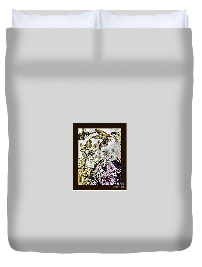 Pencil Duvet Cover featuring the drawing Glittering Hummingbirds by Debra Lynch