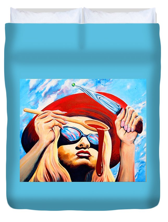 Surreal Duvet Cover featuring the painting Global Food Distribution by Mark Cawood