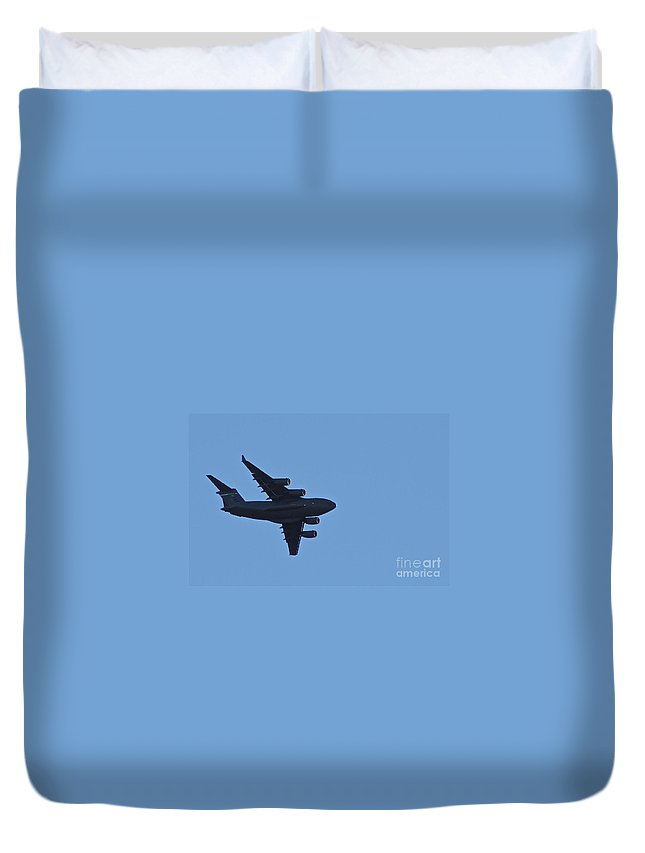 C-17 Duvet Cover featuring the photograph Globe Master by Rick Monyahan