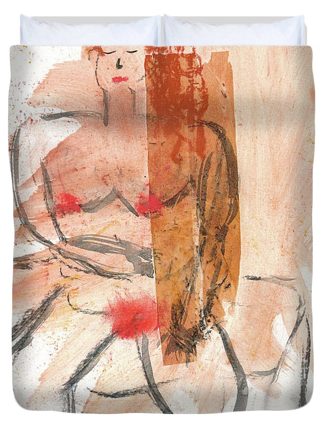 Figurative Duvet Cover featuring the mixed media Gloria by Janet Gunderson