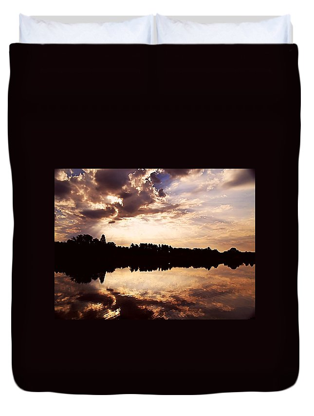 Sunrise Duvet Cover featuring the photograph Glorious Moments by Gaby Swanson