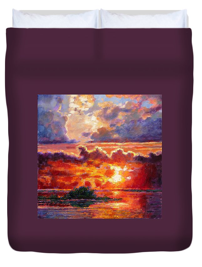 Sunset Duvet Cover featuring the painting Glorious Sunset by John Lautermilch