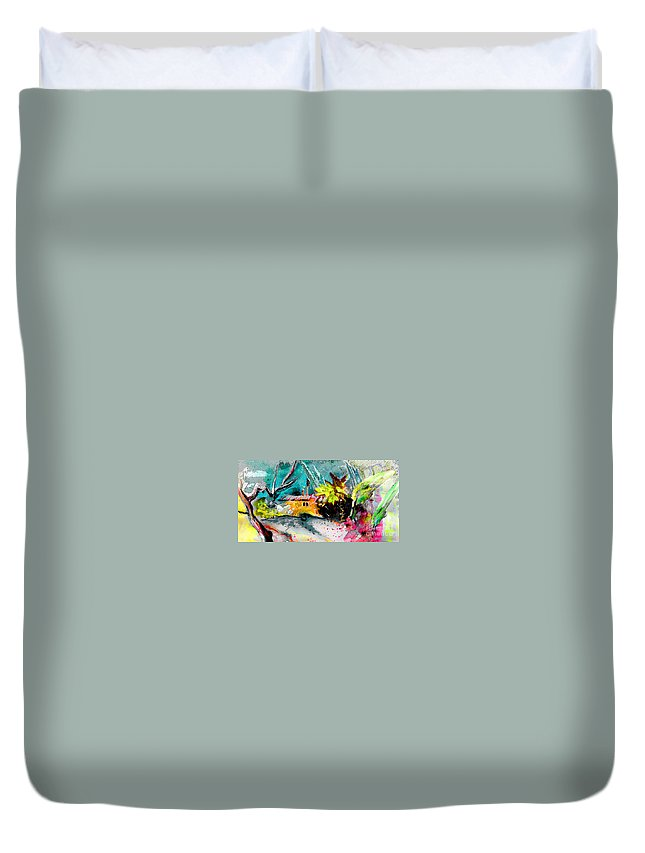 Pastel Painting Duvet Cover featuring the painting Glory Of Nature by Miki De Goodaboom
