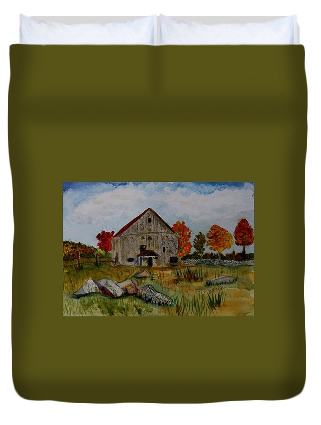 Glover Vt Duvet Cover featuring the painting Glover Barn In Autumn by Donna Walsh