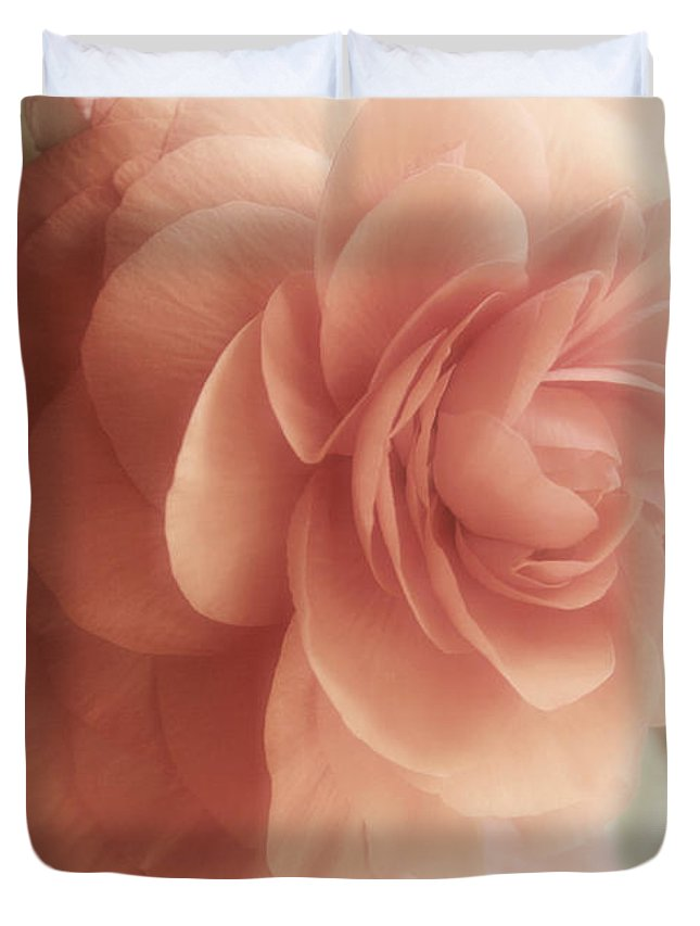 Flower Duvet Cover featuring the painting Glow Shabby Cottage Flower Sunlit by Mindy Sommers