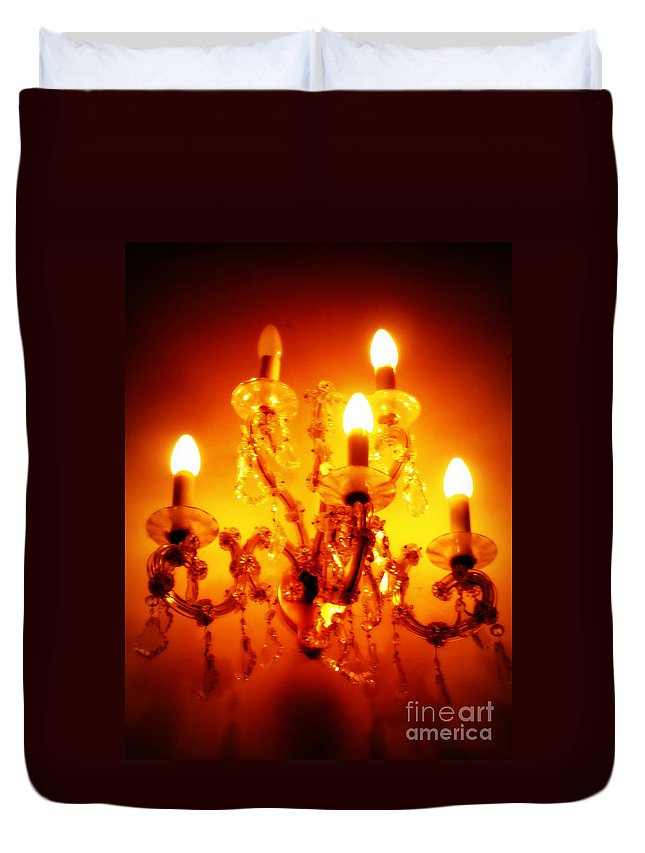 Chandelier Duvet Cover featuring the photograph Glowing Chandelier by Carol Groenen