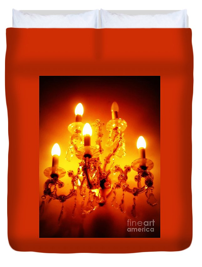 Dining Room Decor Duvet Cover featuring the photograph Glowing Chandelier--companion Piece by Carol Groenen