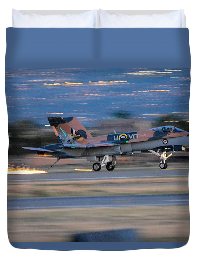 Royal Canadian Air Forces Duvet Cover featuring the photograph Glowing Hornet by Tommy Anderson