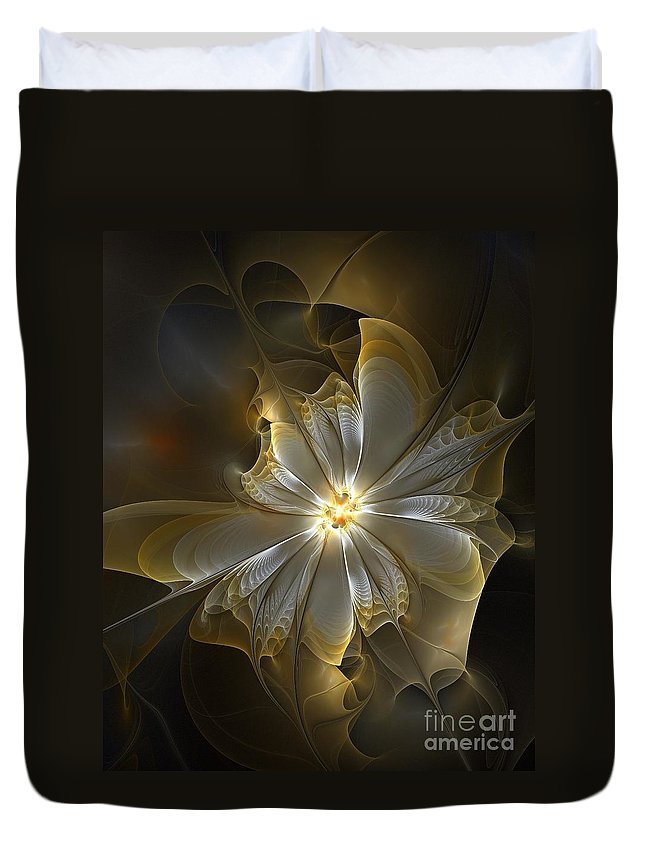 Digital Art Duvet Cover featuring the digital art Glowing In Silver And Gold by Amanda Moore