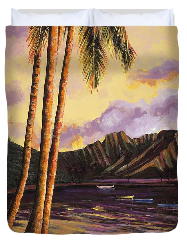 Acrylic Duvet Cover featuring the painting Glowing Kualoa Diptych 1 Of 2 by Patti Bruce - Printscapes