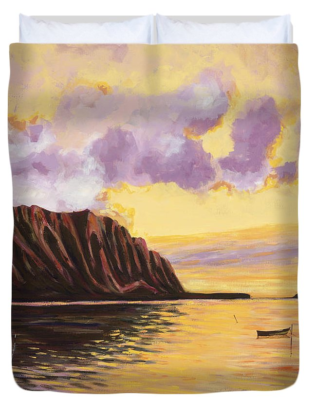 Acrylic Duvet Cover featuring the painting Glowing Kualoa Diptych 2 Of 2 by Patti Bruce - Printscapes