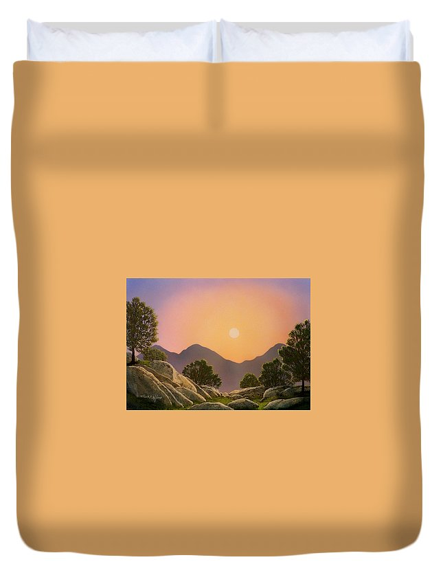 Mountains Duvet Cover featuring the painting Glowing Landscape by Frank Wilson