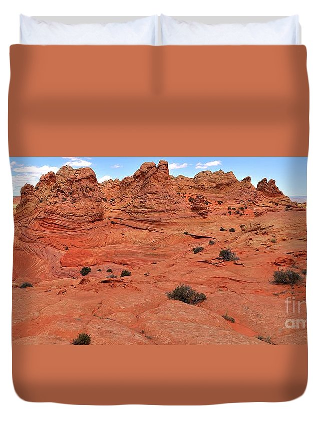 Vermilion Cliffs Panorama Duvet Cover featuring the photograph Glowing Sand In The Buttes by Adam Jewell
