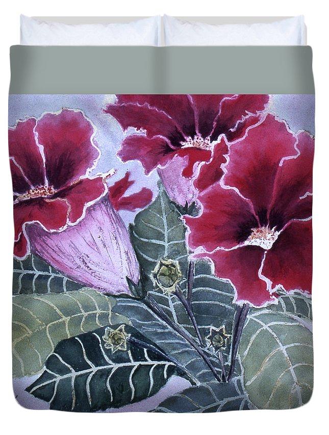 Karen Zuk Rosenblatt Art And Photography Duvet Cover featuring the painting Gloxinias by Karen Zuk Rosenblatt