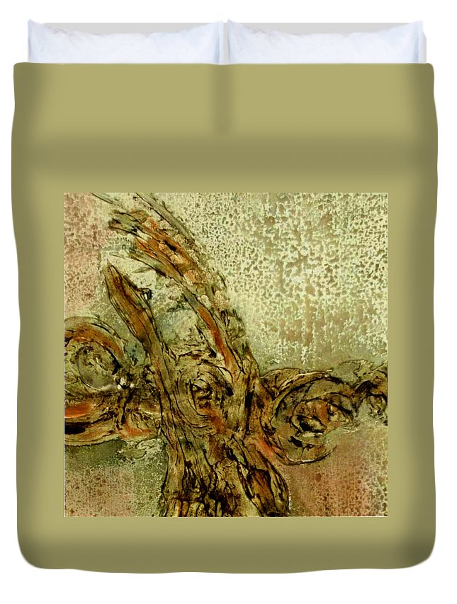 Duvet Cover featuring the painting Glp Pg 10 by Mary Leonard