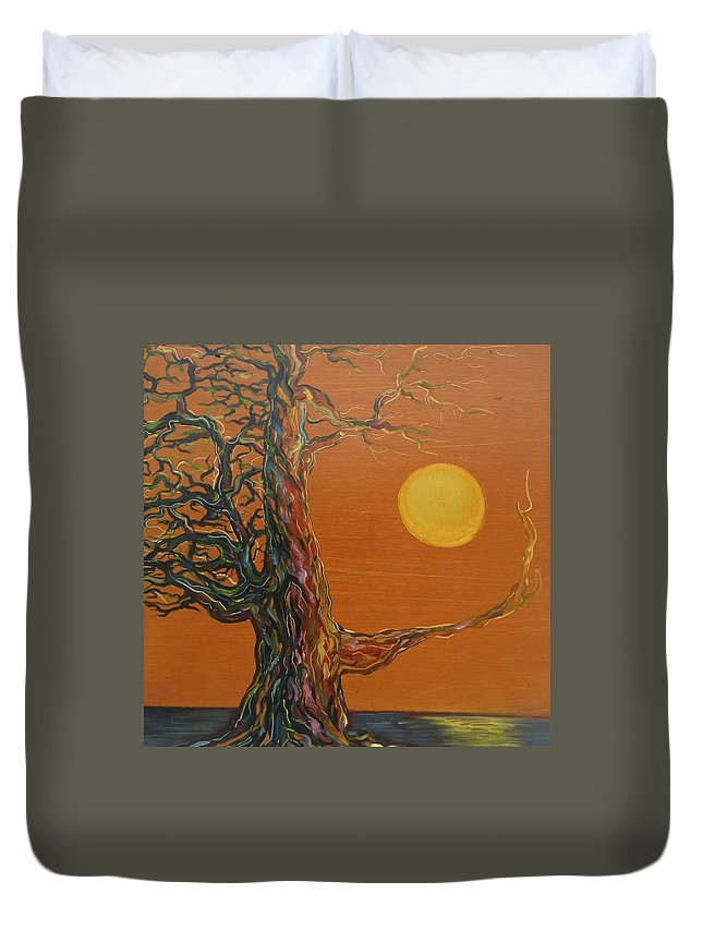 Gnarly Tree Duvet Cover featuring the painting Gnarly Tree by the Sea by Karen Doyle