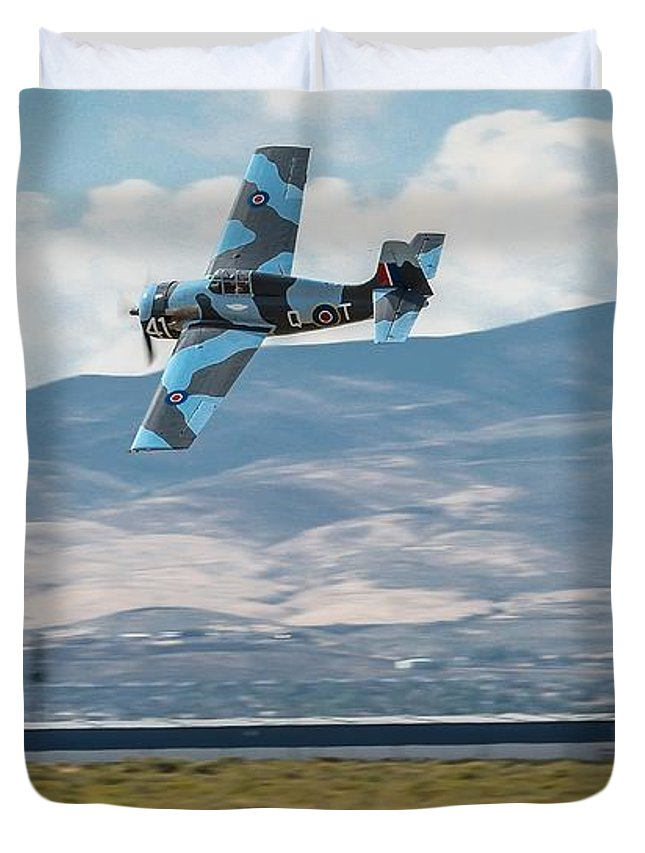 Reno Air Races Duvet Cover featuring the photograph Go Fast Turn Left Fly Low Friday Morning Unlimited Broze Class Signature Edition by John King