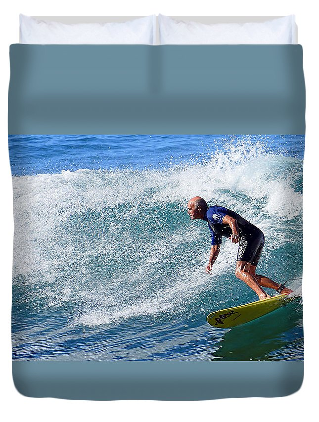 Surfing Australia Duvet Cover featuring the photograph Go For It 001 by Kevin Chippindall