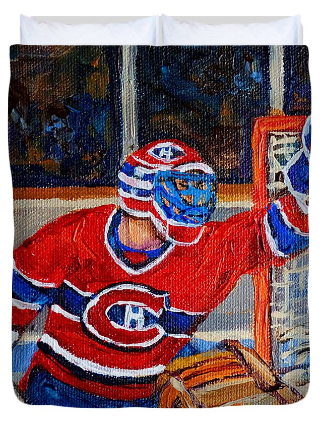 Hockey Duvet Cover featuring the painting Goalie Makes The Save Stanley Cup Playoffs by Carole Spandau