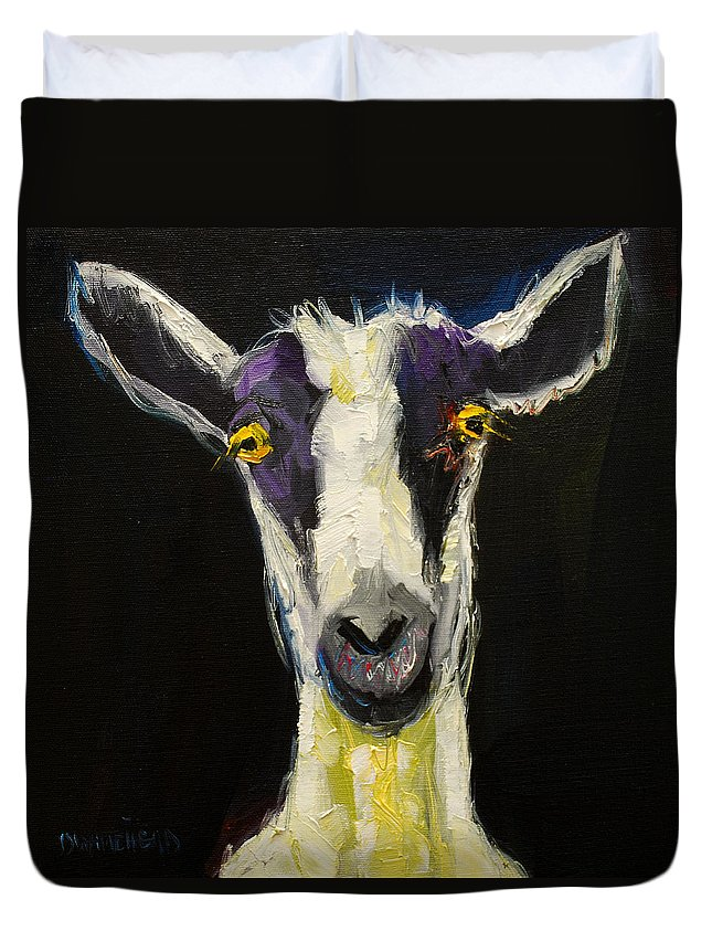 Goat Duvet Cover featuring the painting Goat Gloat by Diane Whitehead