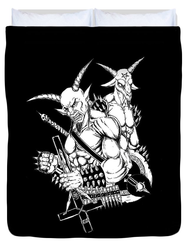Baphomet Duvet Cover featuring the drawing Goatlord And Baphomet Black by Alaric Barca