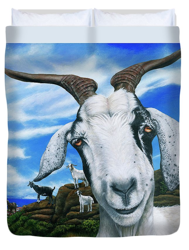 St. Martin Duvet Cover featuring the painting Goats Of St. Martin by Cindy D Chinn