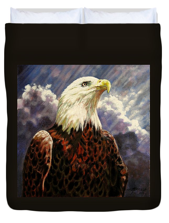 American Bald Eagle Duvet Cover featuring the painting God Bless America by John Lautermilch