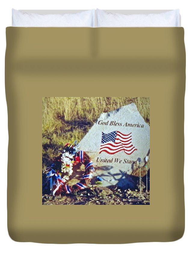 Flight 93 Victims Photograph Duvet Cover featuring the photograph God Bless America by Penny Neimiller