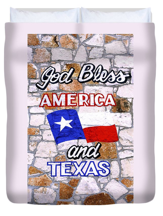 Wall Duvet Cover featuring the photograph God Bless Amreica And Texas 3 by Marilyn Hunt