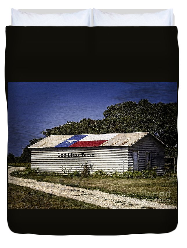 God Bless America Duvet Cover featuring the photograph God Bless Texas by Ella Kaye Dickey