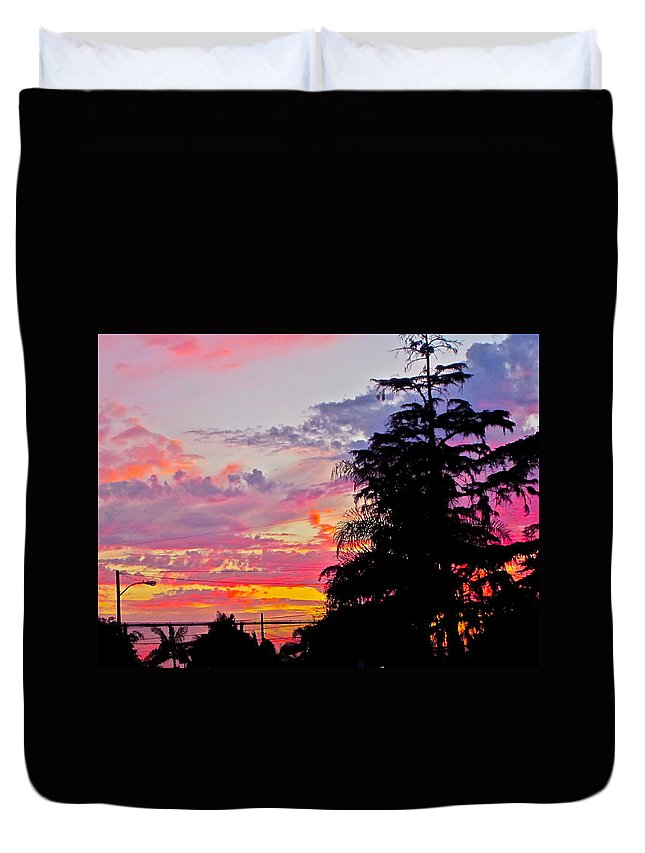 Photograph Of Sunset Duvet Cover featuring the photograph God Gracing La County by Gwyn Newcombe