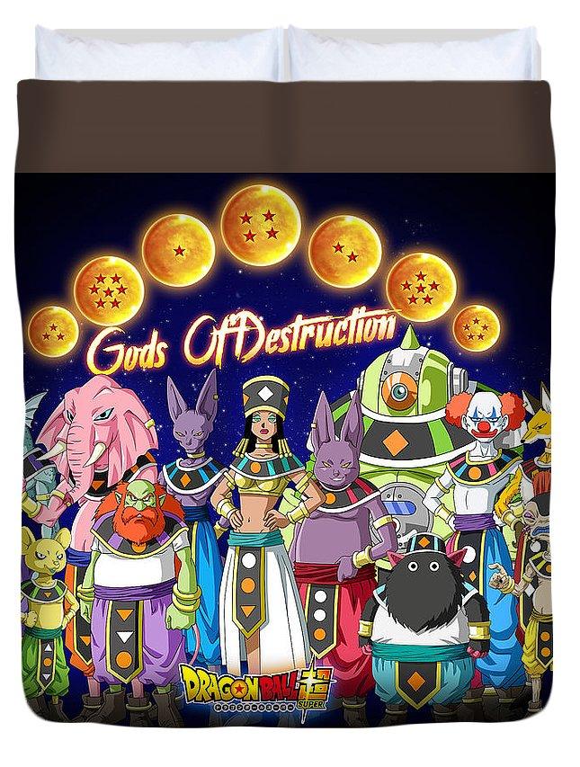 Goku New Form Duvet Cover featuring the digital art God Of Destruction by Babbal Kumar