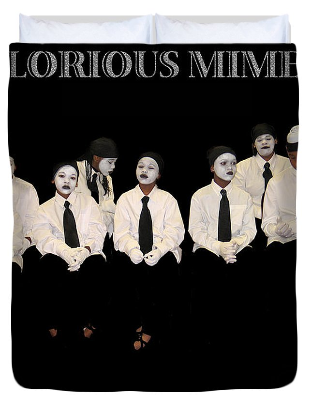 Young Mimes Waiting To Perform For God Duvet Cover featuring the photograph God by Reggie Duffie