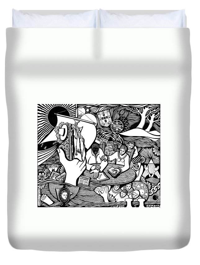 Drawing Duvet Cover featuring the drawing God Wills Man Dreams The Work Is Born by Jose Alberto Gomes Pereira
