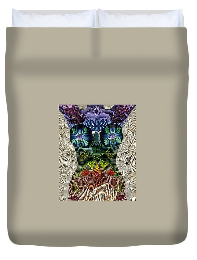 Body Art Duvet Cover featuring the relief Godbody by Arla Patch