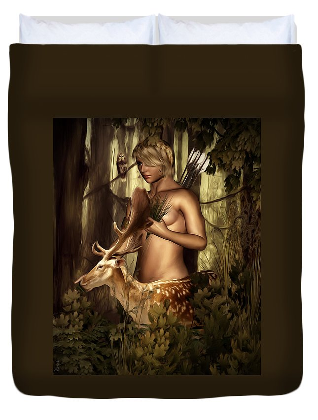 Artemis Duvet Cover featuring the photograph Goddess Artemis by Lourry Legarde