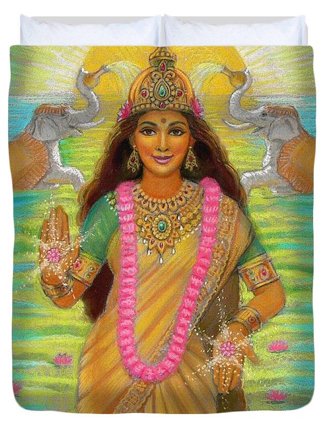 Lakshmi Duvet Cover featuring the painting Goddess Lakshmi by Sue Halstenberg