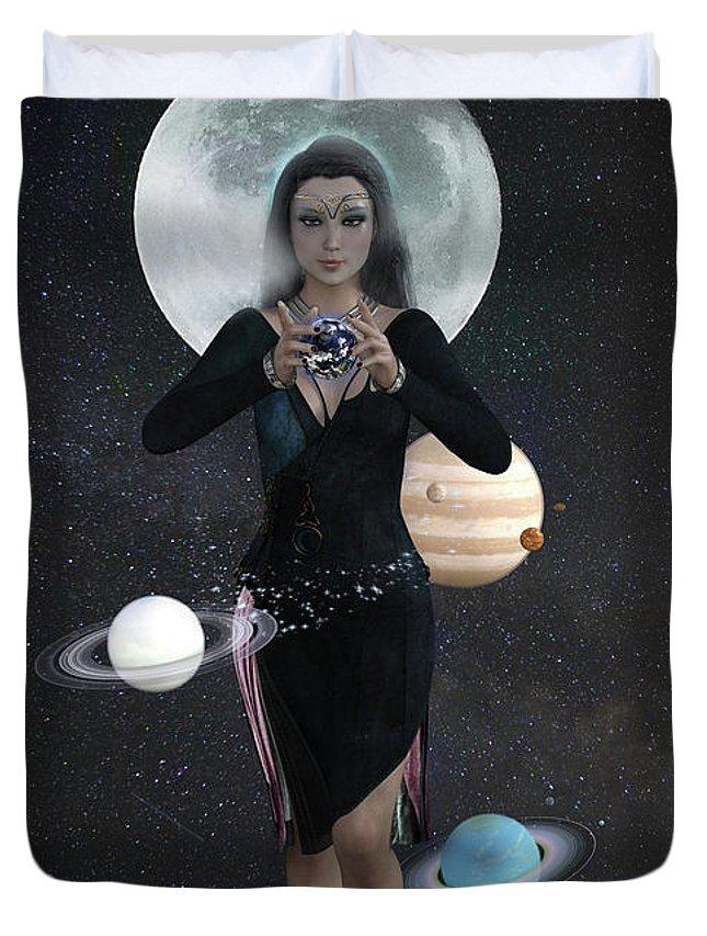 Nyx Duvet Cover featuring the digital art Goddess Nyx by Jason Bodary