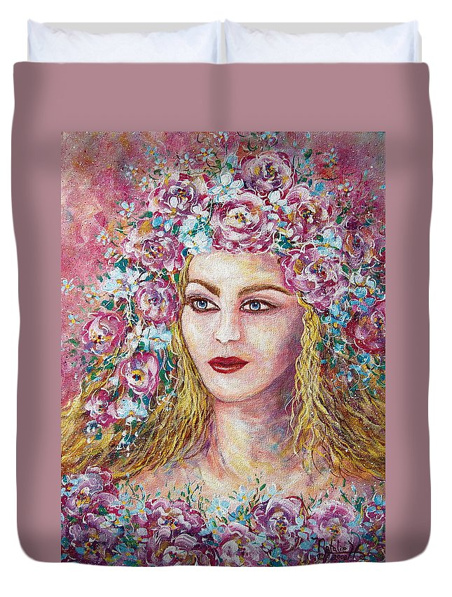 Goddess Of Good Fortune Duvet Cover featuring the painting Goddess Of Good Fortune by Natalie Holland