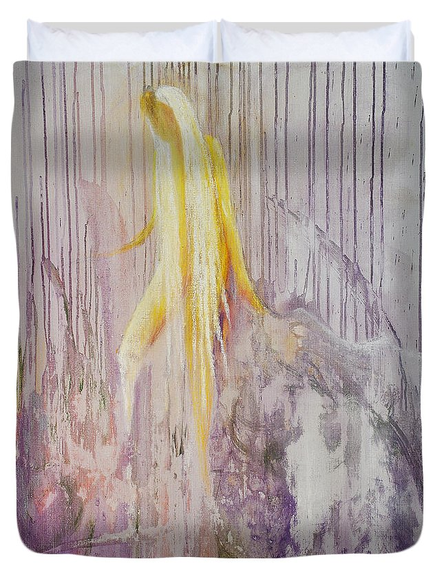 Spiritual Art Duvet Cover featuring the painting Goddess Of Nature by Birgitta Thunberg