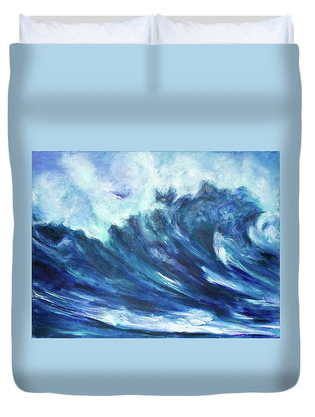 Duvet Cover featuring the painting Goddess Of The Waves by Maya Soaringsun