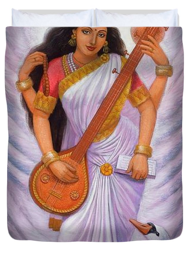 Saraswati Duvet Cover featuring the painting Goddess Saraswati by Sue Halstenberg