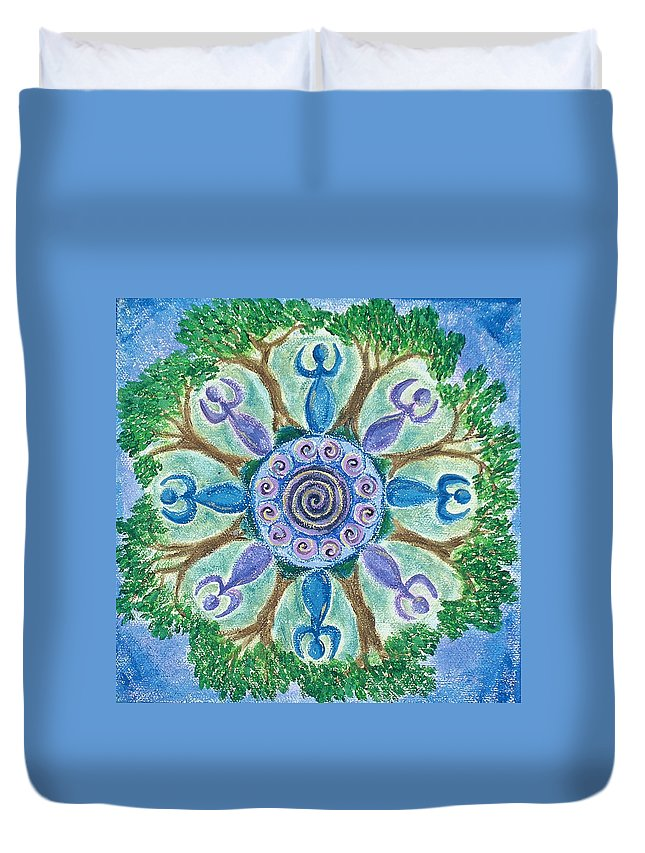 Goddess Duvet Cover featuring the painting Goddesses Dancing by Charlotte Backman