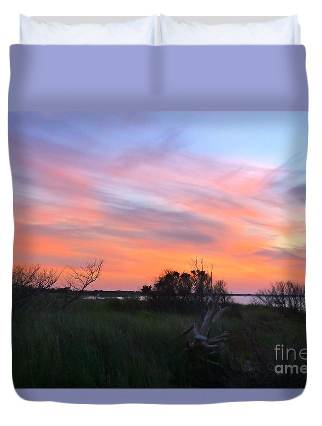 Sunset Duvet Cover featuring the photograph God's Artistry On Pamlico Sound by Jean Wright