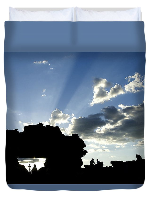 Madagascar Duvet Cover featuring the photograph God's Rays At La Fenetre by Michele Burgess